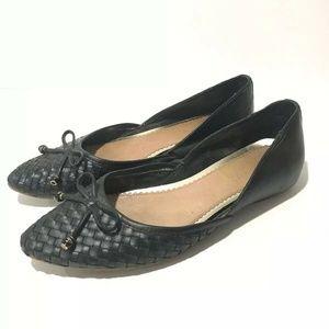 Sperry Topsider Black Woven Leather Morgan Flats